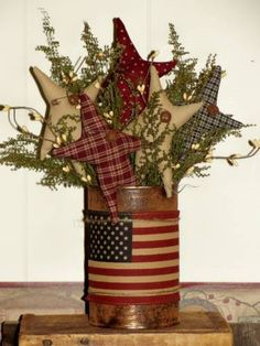 Patriotic prim arrangement *** No...a US flag...regardless of size...should not be attached or adhered to another object. *** Do NOT repin without this disclaimer.