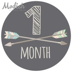 Arrows Brown Tribal Baby Boy Month Stickers