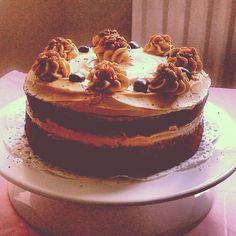 Coffee, Mocha and Walnut cake. Recipe by Eric Lanlard.
