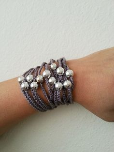 Gray  Handcrochet  Rope Bracelet with silvery by ArtofAccessory, $15.00