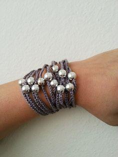 Gray  Handcrochet  Rope Bracelet with silvery por ArtofAccessory, $15.00