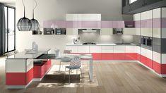 20 Modern Kitchen Color Schemes - My Decor - Home Decor Ideas Kitchen Cabinets Color Combination, Kitchen Colour Schemes, Kitchen Cabinet Colors, Kitchen Colors, Color Schemes, Color Combinations, Purple Kitchen, Kitchen Cabinet Remodel, Modern Kitchen Cabinets