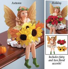 Interchangeable Floral Fairy Figurine Shelf Sitter Decor