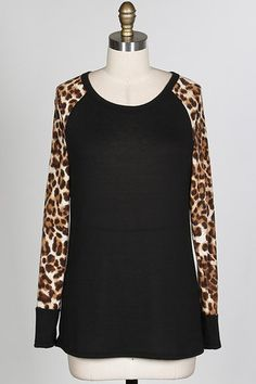 Cheetah Sleeve Sweater- Black – Melissa Couture