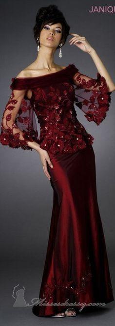 Janique J038 Off-the-Shoulder Petal Applique Evening Gown
