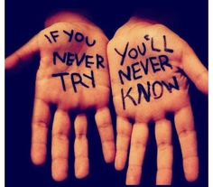"""These are the words I live by """"if you don't try...you'll never know"""" but I have never done that but I will """"try"""" and """"try,try again""""..."""