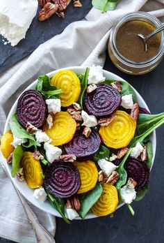 Roasted Beet, Spinach and Goat Cheese Salad