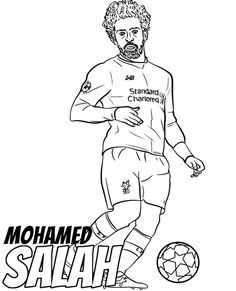 Salah coloring page egyptian football player printable picture Letter B Coloring Pages, Football Coloring Pages, Free Adult Coloring Pages, Free Coloring Sheets, Printable Adult Coloring Pages, Coloring Pages For Girls, Animal Coloring Pages, Colouring Pages, Football Player Drawing