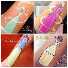 Disney's Princesses *K (scroll down the page, there's another set of 4 princesses that are painted on someone's arms)