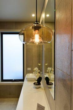 Ensuite, bathroom, vanity inspiration, pendant lighting, above bench basins, feature tiles, paul gray builders