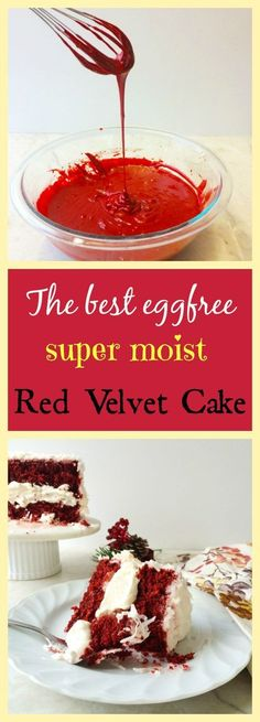 Moist and rich egg less Red Velvet cake with white chocolate mousse frosting.. yum! only at www.carveyourcraving.com