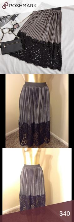"TOP FASHION VELVET & LACE PLEATED SKIRT   TOP FASHION VELVET AND LACE PLEATED SKIRT WITH LACE BOTTOM elastic waist measures 23"" length 31"" hips 48""  Skirts Midi"