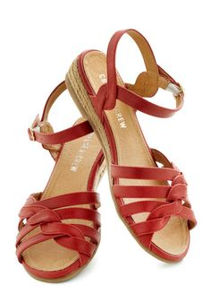 Huge Hugs Sandal in Red by Chelsea Crew - Red, Solid, Braided, Low, Leather, Casual, Beach/Resort, Summer, Variation, Flat