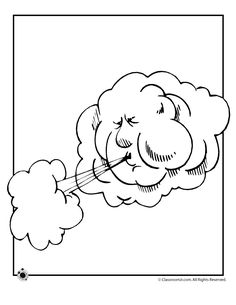 9 different weather coloring pages of wind, heat, storms, snow, sun and seasons.