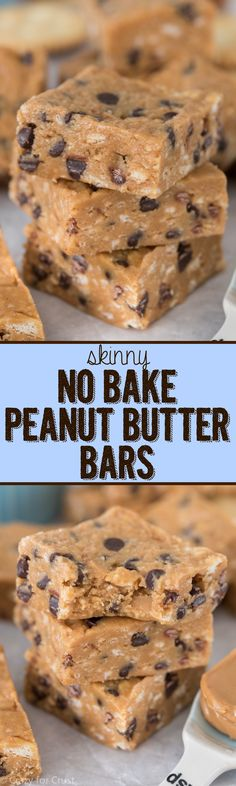 Skinny No Bake Peanut Butter Bars this easy peanut butter bar recipe has way less calories and fat than the regular version and they're JUST as good if not better! is part of Peanut butter bars - Just Desserts, Delicious Desserts, Dessert Recipes, Yummy Food, 100 Calorie Desserts, Candy Recipes, Recipes Dinner, Weight Watcher Desserts, Low Carb Dessert