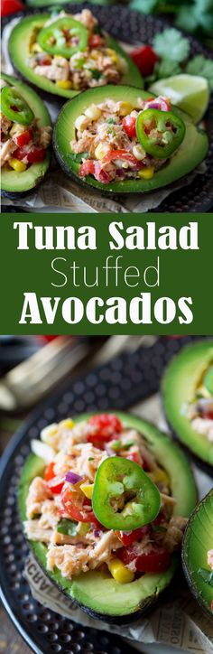 Albacore Tuna Salad Stuffed Avocados make a light, healthy, easy lunch that is packed with flavor. This Tex Mex inspired creation has tantalizing flavors, and is an easy to make (easier to eat), meal or snack option! Tex Mex Tuna Salad Stuffed Avocados - Eazy Peazy Mealz