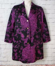 NEW Womens ABC COLLECTION Black Purple Floral Button Front Crinkle Jacket SZ M/L #ABCCollection #BasicJacket #BusinessCasual
