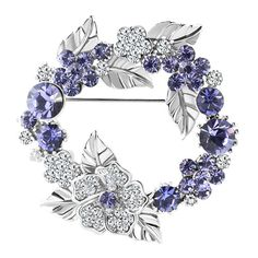 Brooches & Pins - february birthstone purple crystal flower wreath cz crystal brooches Image.