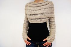 PDF Knitting Pattern Oatmeal Cropped Thumb Hole por CamexiaDesigns