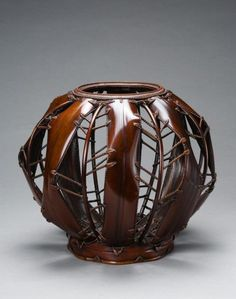 Sakaguchi Sounsai (Japanese) | Flower basket of susutake bamboo and rattan.  ca. 1912 - 1967