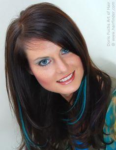 pix of blue hair highlights - Bing Images Hair Color Streaks, Brown Hair With Highlights, Hair Colour, Turquoise Highlights, Peekaboo Highlights, Colored Highlights, Blue Brown Hair, Long Brown Hair, Black Hair