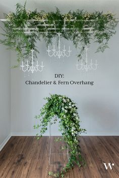 DIY Wedding Chandelier & Fern Overhang