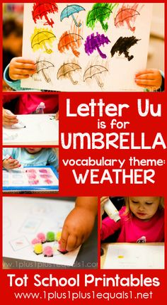 Tot School Printables Letter U is for Umbrella {free} from @{1plus1plus1} Carisa #totschool