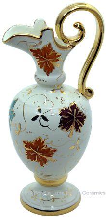 Ceramic Anfora Pitcher Gold Autumn Leaf