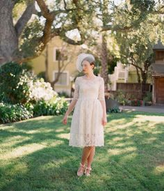 (Ellie) 2 Piece, Short Lace and Cotton Wedding Dress by Leanne Marshall