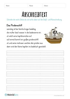 Worksheet: Copy Text Pirate Ship Level of Education Tent Photography, German Grammar, German Language Learning, Future Jobs, Dyslexia, Primary School, Reading Comprehension, Kids Learning, Worksheets