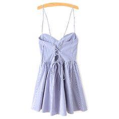 Fitting Striped Spaghetti Straps Sleeveless Dress (1.945 RUB) ❤ liked on Polyvore featuring dresses, sleeveless dress and no sleeve dress