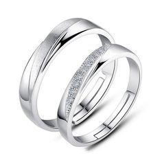 S925 Silver Matte Inlaid Cubic Zirconia Adjustable Couple Rings