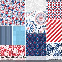 Blue Skies Add-On Paper Pack patterned papers in red, white & blue for patriotic and americana designs for crafting projects and more #designerdigitals