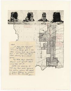 Due East through Chimney Spring Ranch. Lithograph and collage Architecture Mapping, Architecture Drawings, Landscape Architecture, Presentation Layout, Collage Design, Old Stone, Land Art, Plans, Art Projects