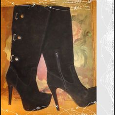 """Bakers Leather Boot Black leather upper platform boot with pretty buckle details.  Heel 5 1/2"""". Shoes Over the Knee Boots"""