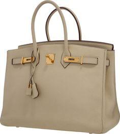 Hermes 35cm Parchement Clemence Leather Birkin Bag with Gold Hardware