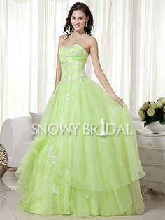 A-Line Floor Length Organza Sweetheart Corset Dropped Wedding Dress - US$161.09 - Style W0364 - Snowy Bridal