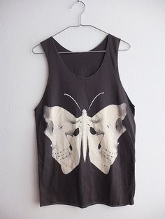 Skull Butterfly Moth Gothic Art Fashion Punk Rock Hip Hop Tank Top M