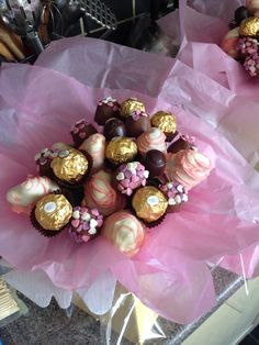 Mothers Day...small chocolate covered strawberries with marshmallows and ferrero roche