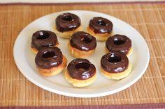 Mini baked donuts with chocolate ganache --- Kirbie's Cravings