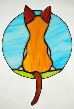Cat in a Window stained glass panel by peaceloveglass, via Flickr