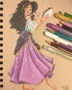 "167 Likes, 20 Comments - Marissa Belle (@marissabellesart) on Instagram: """"What do they have against people who are different anyway""(Esmeralda) finished this drawing…"" Hunchback of notre dame"