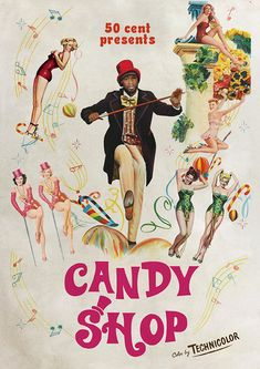 Life is a Musical on Behance Retro Illustration, Graphic Design Illustration, 50 Cent Candy Shop, Art Deco Posters, Poster Prints, Restaurant Pictures, Vintage Concert Posters, Hip Hop Art, Retro Art
