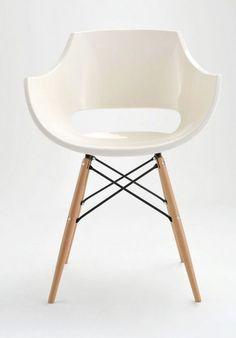 Stylowe krzesło FLORO      Stylowe, nowoczesne krzesło designerskie z siedziskiem wykonanym z tworzywa sztucznego na wysoki połysk. Osadzone na nogach z litego drewna i stalowych profili.