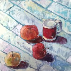 Ewa Witkowska, Still life with apples, oil and acrylic on canvas, 40x40