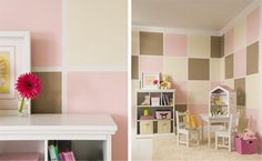 Bring style to your walls with these colorful treatments. From Lowes Creative ideas!  Neapolitan Delight (shown): Bistro White 7006-4, Chantarelle MS096, Macaroni MS089, and Silk Kimono MS011 from the Martha Stewart Colors collection.