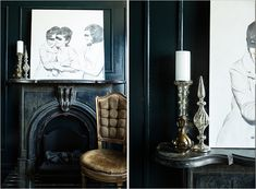 Dark Mantel + Quirky Modern Art + Gold Interior Design Inspiration, Decor Interior Design, Interior Decorating, Vintage Fireplace, Modern Victorian, Wall Finishes, Diy Furniture Projects, Black Walls, Kid Spaces