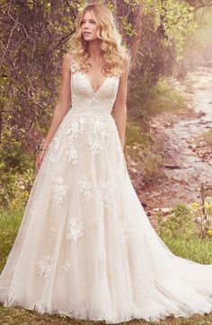 Courtesy of Maggie Sottero Wedding Dresses; Wedding dress idea.