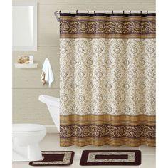 details about shower curtain set 17 pc complete bathroom decor rugs hooks towels asst colors