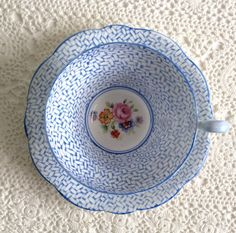 Blue EB Foley Tea Cup and Saucer